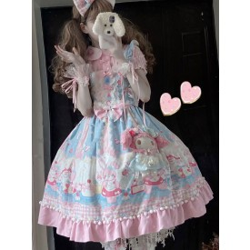 Sweet Lolita JSK Dress Polyester Sleeveless Floral Print Pattern Sleeveless Bows Lace Ruffles Pink Lolita Jumper Skirt