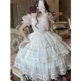 Sweet Lolita JSK Dress Polyester Sleeveless Lace Bow White Lolita Jumper Skirt
