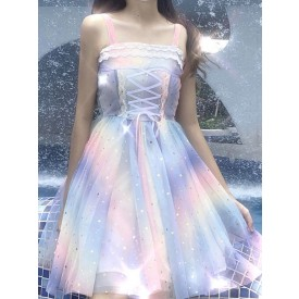 Sweet Lolita JSK Dress Stepping On The Rainbow Stars Print Bows Sequins Light Sky Blue Lolita Jumper Skirts