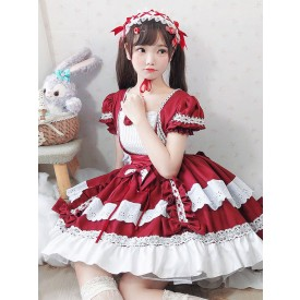 Sweet Lolita OP Dress Lace Bows Lolita One Piece Dresses Maid Costume