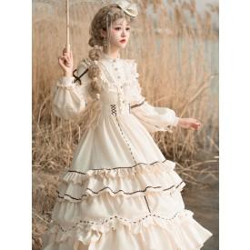 Sweet Lolita OP Dress Light Apricot Polyester Long Sleeves Cascading Ruffles Lace Up Criss-Cross Lolita One Piece Dress