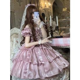 Sweet Lolita OP Dress Polyester Short Sleeves Bows Pleated Ruffles Pink Lolita One Piece Dress