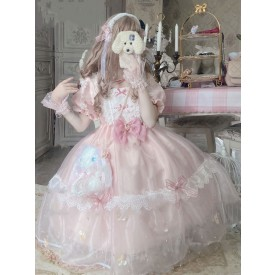Sweet Lolita OP Dress Polyester Short Sleeves Bows Ruffles Lace Pink Lolita One Piece Dress