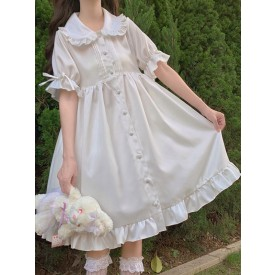Sweet Lolita OP Dress Ruffles White Short Sleeves Lolita One Piece Dresses