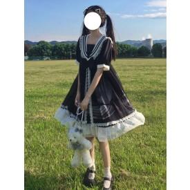 Sweet Lolita OP Dress Sailor Style Short Sleeve Lolita One Piece Dresses