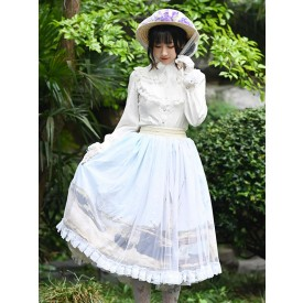 Sweet Lolita Overskirt Lace Light Sky Blue Tea Party Daily Casual Lolita Skirts