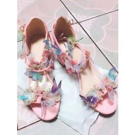 Sweet Lolita Sandals Handmade Chunky Heel Flowers Round Toe Ankle Strap Pink Lolita Summer Shoes