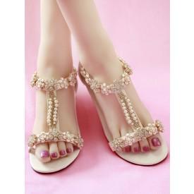 Sweet Lolita Sandals Handmade Flowers Rhinestones Cowhide Round Toe Ecru White Customize Lolita Summer T-Strap Heels