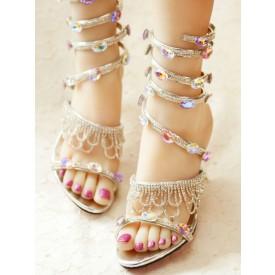 Sweet Lolita Sandals Handmade Fringe Rhinestones PU Leather Pointed Toe Stiletto Heel Sliver Customize Lolita Summer Sandals