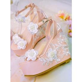Sweet Lolita Sandals Handmade Lace Flowers Round Toe Wedge Heel Light Pink Lolita Summer Customize Sandals