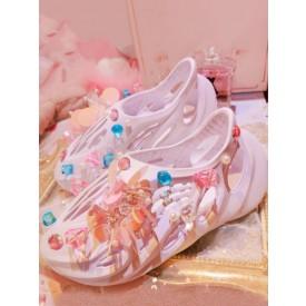 Sweet Lolita Sandals Handmade Lavender Pearls Rhinestones Closed Toe Flat Heel Lolita Summer Customize Shoes