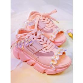 Sweet Lolita Sandals Handmade Peep Toe Rhinestones Flowers Cowhide Lace Up Pink Lolita Summer Shoes