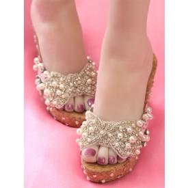Sweet Lolita Sandals Handmade Peep Toe Wedge Heel Pearls Ecru White Lolita Customize Summer Heeled Mules
