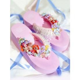 Sweet Lolita Sandals Handmade Round Toe Fringe Flowers Wedge Heel Daily Casual Pink Lolita Summer Shoes