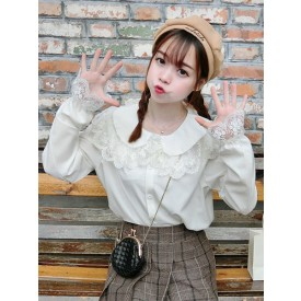 Sweet Lolita Shirt Lace Chiffon White Lolita Blouse