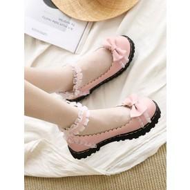 Sweet Lolita Shoes Bows Ruched PU Leather Flat Lolita Pumps