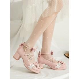 Sweet Lolita Shoes Pink Bows PU Leather Chunky Heel Stripes Lolita Shoes