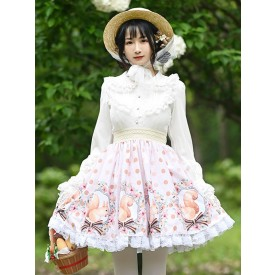 Sweet Lolita Skirt Bow Light Apricot Tea Party Daily Casual Lace Lolita Skirts