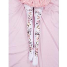 Sweet Lolita Socks Pink Spandex Floral Print Lolita Accessories