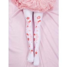 Sweet Lolita Socks Pink Spandex Sakura Pattern Lolita Accessories