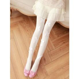 Sweet Lolita Stockings Pearl Bow Cotton Fibers White Lolita Pantyhose