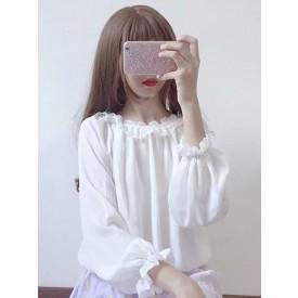 Sweet Lolita Top Frill Pleated Chiffon White Lolita Blouse