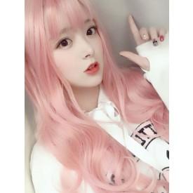 Sweet Lolita Wig Long Tousled Soft Pink Lolita Hair Wigs With Bangs