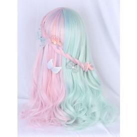 Sweet Lolita Wigs Mint Green Color Block Fiber Flowers Lolita Accessories
