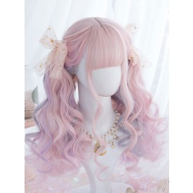 Sweet Lolita Wigs Pink Ombre Long Curly Lolita Hair Wigs With Blunt Bang