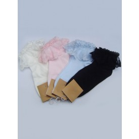 Sweet White Cotton Lolita Ankle Socks Lace Trim