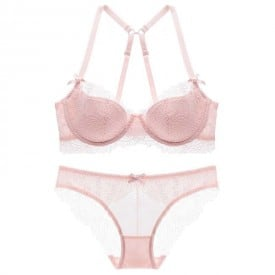 Transparent Women 's Push up Embroidery Half Bras Set Lace Lingerie Bra and Panties 1623