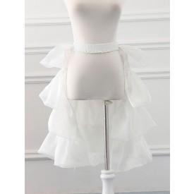 Tulle Lolita Petticoats Bell Shape Ruffles White Lolita Skirt