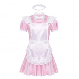 Turn-down Collar Puff Sleeve Button Down Dress with Apron Headband