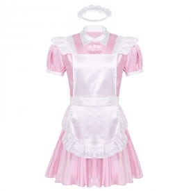 Turn-down Sissy Maid Collar Puff Sleeve Dress with Apron Headband Outfit