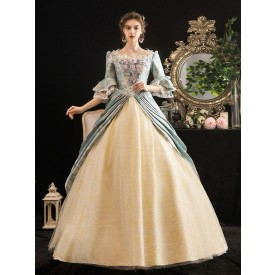 Victorian Dress Costumes Rococo Floral Print trumpet Short Sleeves Square Neckline Marie Antoinette Costume Masquerade Ball Gown Dress