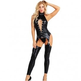Wet Look Faux Leather Zipper Open Crotch Fetish Bodysuit Clubwear with G-string
