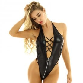 Wet Look Faux Leather Zipper Open Crotch Latex Halter Neck Backless Leotard