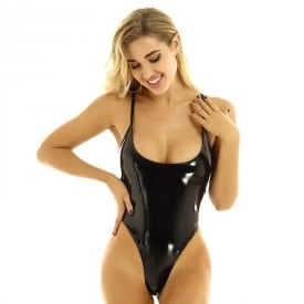 Wet Look Patent Leather Adjustable Spaghetti Straps High Cut Latex Catsuit