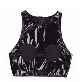 Wetlook Faux Leather Fetish Latex Tanks Sleeveless Cupless Open Bust Short Vest
