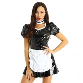 Wetlook Outfit Puff Sleeves A-line Patent Leather Latex French Maid Dress