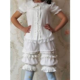 White Black Lolita Shorts Infanta Lolita Bloomer Shirring Lace Trim Ruffles Trim