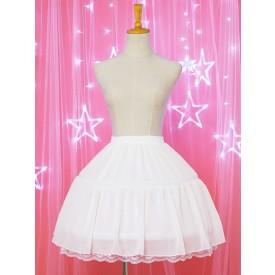 White Lolita Petticoat Chiffon Lace Trim Ruffle Lolita Pettiskirt