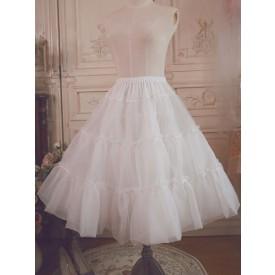 White Lolita Petticoat Ruffle Voile Pleated Lolita Underskirt