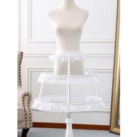 White Lolita Petticoats Ruffles 4 Layered Crinoline White Lolita Underskirt