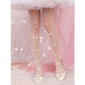 White Lolita Tights Cut Out Bows Pantyhose Velvet Lolita Accessories