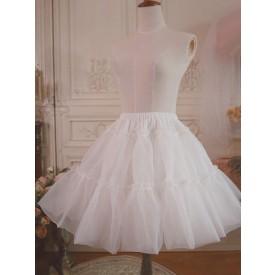White Lolita Underskirt Voile Ruffle Pleated Lolita Petticoat Skirt
