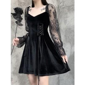 Gothic Dress Black Gothic Korean Velvet Lace Sleeves Retro Dress