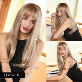 24 Inch Long Straight Synthetic Blonde Golden Wigs with Bangs