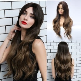 24 Inch Natural Wave Hair Ombre Heat Resistant Fiber Synthetic Wigs