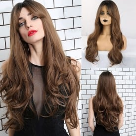 24 Inch Ombre Blonde Brown Synthetic Long Natural Wave Wigs